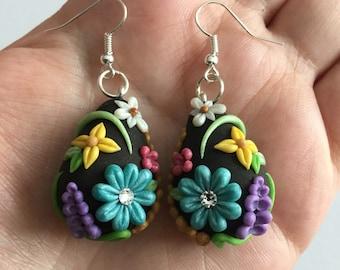 OOAK Floral Teardrop Earrings