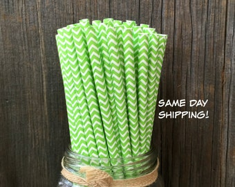 100 Lime Chevron Straws, Birthday Party, Picnic Supply, St Patricks Day, Free Shipping!