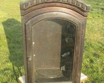 Large Antique Chapel Altar Prayer Box Ornamental Flowers Wooden Display Cabinet 19th century
