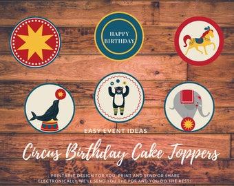 Circus Birthday Printable Cupcake Toppers