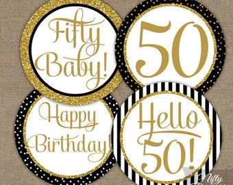 50th Birthday Cupcake Toppers - 50th Birthday Party Decorations Printable - Black Gold Glitter - Elegant 50th Birthday Favor Tags Fifty BGL