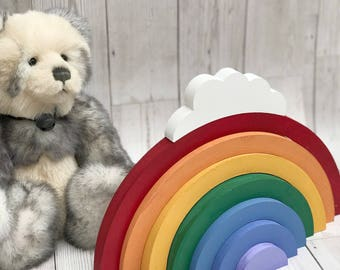 Wooden Rainbow, Stacking Rainbow, Room Decor, Children's Room Decor, Pastel Rainbow, Wooden Rainbow, Nursery Decor, Freestanding Rainbow