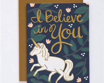Every day Card - Greeting Card - Believe in You - Letterpress - Gold Foil