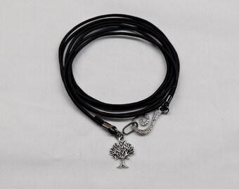 Leather wrap bracelet, Tree