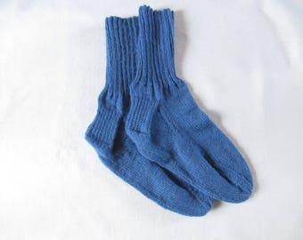 Hand Knitted Blue Socks