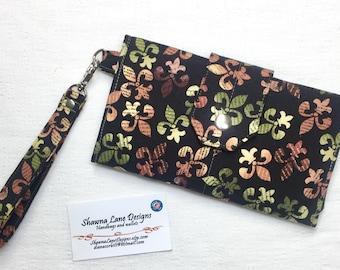 women's wallet, fleur-de-lis wallet, brown green wallet, trifold organizer wallet, checkbook, cell phone accessory, wristlet, women's gift