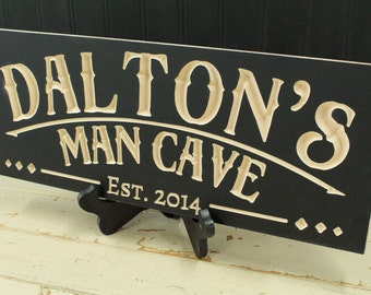 Man Cave Sign Carved Shop Sign Custom Made Business Sign Husband Gift Ideas Maple Sign