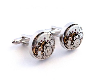 Cufflinks: Steampunk Watch Cufflinks, Vintage Clockwork Watch Movement Cuff Links. Wedding Cufflinks.