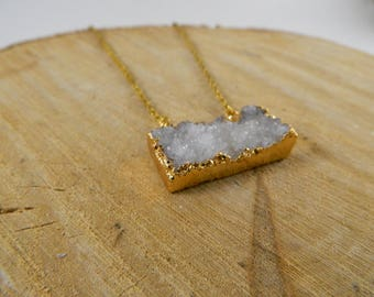 Druzy Quartz Bar Necklace | Crystal Necklace | Gemstone Necklace