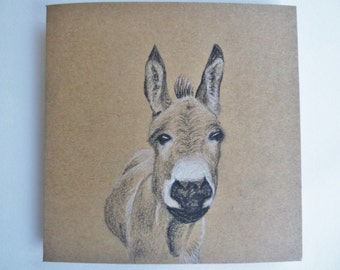 Hand Drawn Card, Cute Donkey, Original Artwork Greeting Card, Farm animal Note Card, Animal Thank you, Birthday for Friend, Animal lover