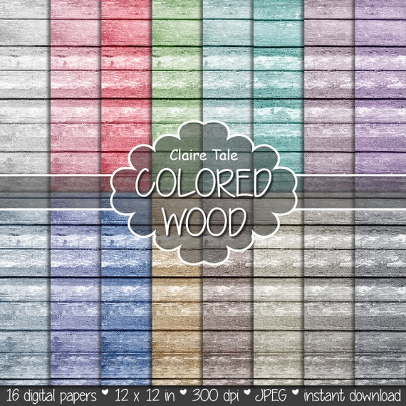 """Wood digital paper: """"COLORED WOOD"""" with wood background in red, purple, blue, beige, green, brown, neutral and black"""