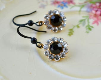 Sparkly Flower Earrings with Jet & Clear Crystal Rhinestones and Matte Black Hooks in a Mid-Century Style