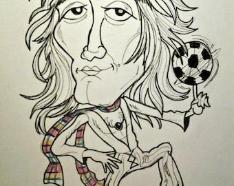Young Rod Stewart Rock Caricature Rock Portrait Music Art by Leslie Mehl Art