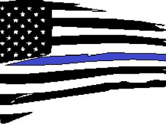 Tattered flag with thin blue line, 8 x 4.5, iron on decal, law enforcement, USA, thin red line, law enforcement week, badge number
