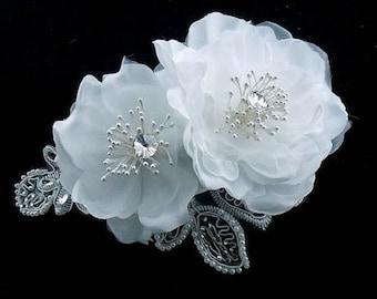 NARINA - Ivory Floral Wedding Bridal Hair Piece