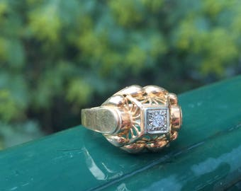 1950's Gold with Diamond Ring