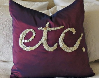 Etc. Button Design Purple Silk Pillow Cover, Throw Pillow, Accent Pillow, Decorative Pillow