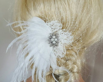Off White Hair Clip, Wedding Hair Clip, Wedding Hair Accessories,Bridal Fascinator,Feather Hair Clip,Wedding Bridal Comb, Off White Comb