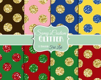 Glitter, Polka Dots, Multi-Colored, Sparkling, Digital Paper, 12x12, Scrapbook, Dramatic