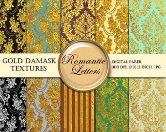 Gold digital Scrapbook paper digital damask gold backdrop digital background Paper gold digital photo backdrop gold damask wallpaper paper