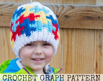 CROCHET GRAPH - Autism Awareness Puzzle Color Grid for Crochet or Knit Beanies