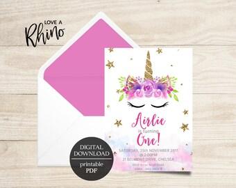 Unicorn Watercolor Printable Invitation