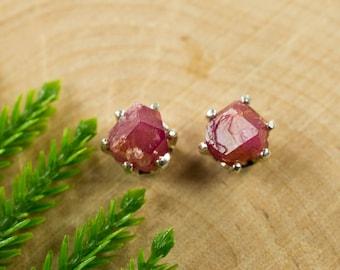 Rough Raspberry Garnet Sterling Silver Earrings