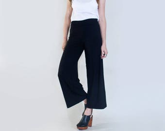 Women's Cropped Pants | Black Wide Leg Palazzo | Tall Length Pant Bottoms | Highwater Ankle | Made in our USA loft | L415 & Co (#415-38)