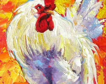 Rooster Painting, Rooster Print, Rooster Wall Art, Chicken Art, White Rooster Print,  Print from Original Painting  10 x 8 by Jemmas Gems