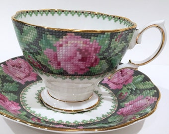 Royal Albert Tea Cup and Saucer, Needle Point Pattern, Royal Albert Cups, Tea Set, Antique Teacups, Rose Black Cups, English Bone China Cups