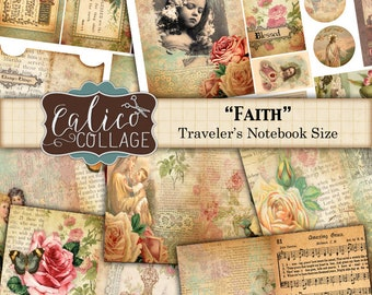 Travelers Notebook, Fauxdori Inserts, Printable, Journal Kit, Faith, Bible Verses, Religious Ephemera, Ephemera Pack, TN Junk Journal
