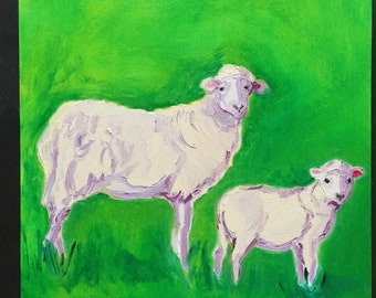 Two Simple Sheep Original Oil Painting Daily Painting
