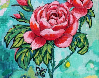 "Rosy Dreams 11"" by 14"" PRINT - rose painting, rose art, flower art, pink flower painting, butterfly, pink, green, turquoise, bug art"