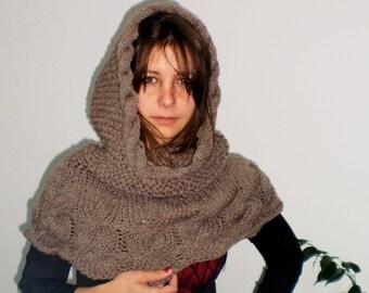 Hand Knitted Shawl Milky Brown Wool Hooded Scarf Collar Neckwarmer Bolero Shrug Shawl