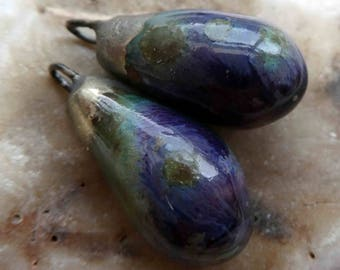Ceramic Drops Earring Charms -Purple Cosmos
