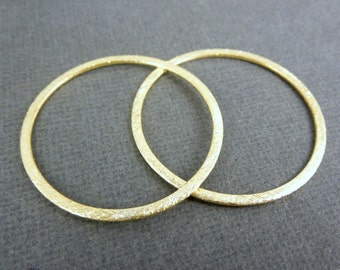 Gold Vermeil Hoop-- 35mm Brushed Gold Hoop- 1 PAIR  (S35-B5-05)