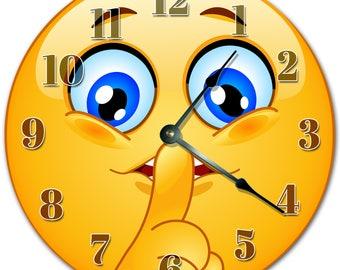 "10.5"" SILENCE EMOJI Clock - Living Room Clock - Large 10.5"" Wall Clock - Home Décor Clock - 4149"