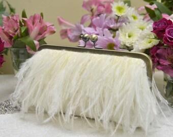 FEATHER FRINGE CLUTCH<> Ostrich Feather Fringe Clutch, White Wedding Purse, Ivory Bridal Clutch, Blush Wedding Purse, Champagne Clutch
