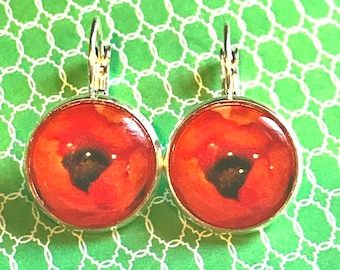 O'keefe Red Poppies cabochon earrings - 16mm