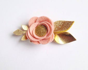 Blush with Gold Glitter and Gold Felt Flower Hair Clip or Headband