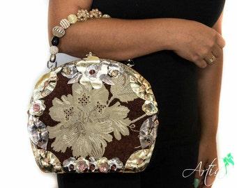 Brocade round box purse