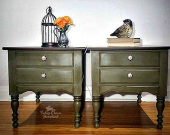Olive Green With Walnut Stained Top End Tables with 2 drawers