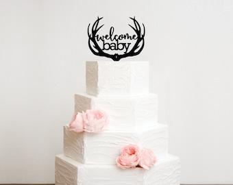 Baby Shower Cake Topper, Deer Antlers Baby Shower Topper, Welcome Baby Cake Topper, Gender Reveal Cake Topper, Deer Hunting Baby Shower
