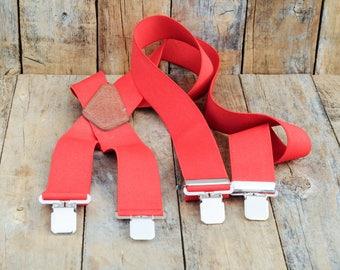 Red Suspenders Lumberjack Suspenders Mens Suspenders vintage suspenders wide suspenders 2 inch suspenders FauxyFurr Vintage