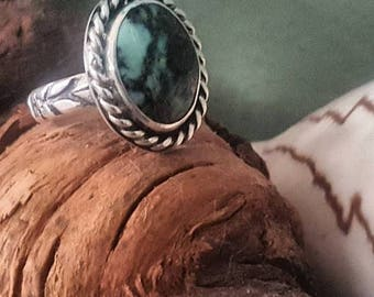 Handmade Sterling Silver Variscite Ring with Stamped Band