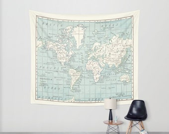 World Map Wall Tapestry   Vintage Map, Dorm Room Decor, Blue And Cream  Beautiful