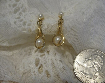 Lovely Caged Pearl Drop Earrings By Napier, Combo Clip-on and Screw-back
