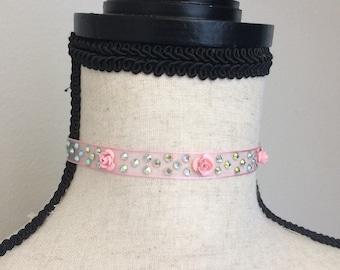 Baby pink mesh rose and iridescent rhinestoned choker