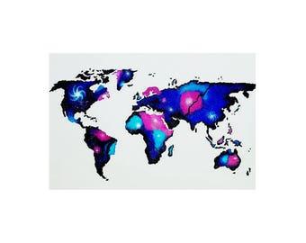 World Map Galaxy Acrylic Painting Original painting On Canvas