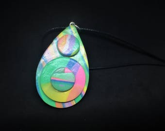 Abstract Pastel Geometric Teardrop Pendent, Polymer Clay, One of a Kind Art